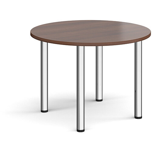 Circular chrome radial leg meeting table 1000mm - walnut