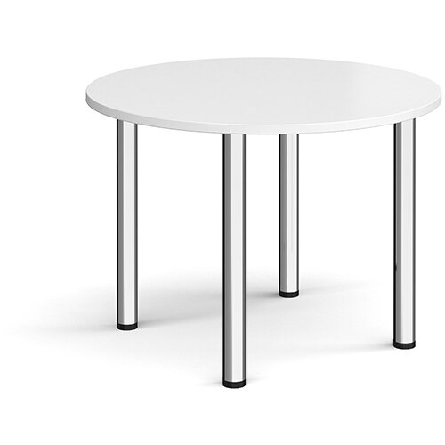 Circular chrome radial leg meeting table 1000mm - white
