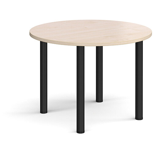 Circular black radial leg meeting table 1000mm - maple