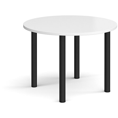 Circular black radial leg meeting table 1000mm - white