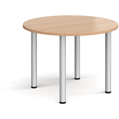 Circular silver radial leg meeting table 1000mm - beech