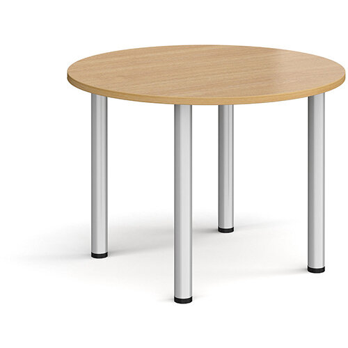 Circular silver radial leg meeting table 1000mm - oak