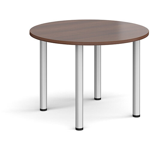 Circular silver radial leg meeting table 1000mm - walnut