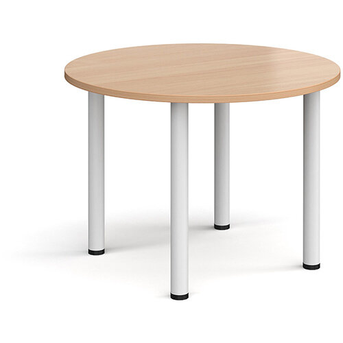 Circular white radial leg meeting table 1000mm - beech