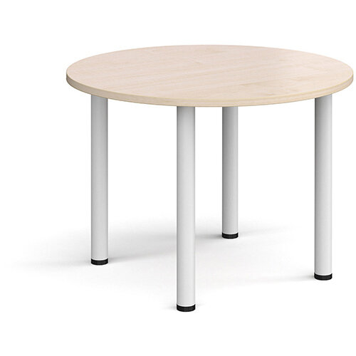Circular white radial leg meeting table 1000mm - maple