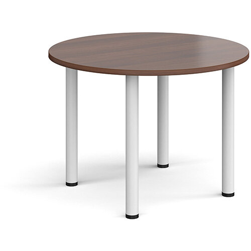Circular white radial leg meeting table 1000mm - walnut