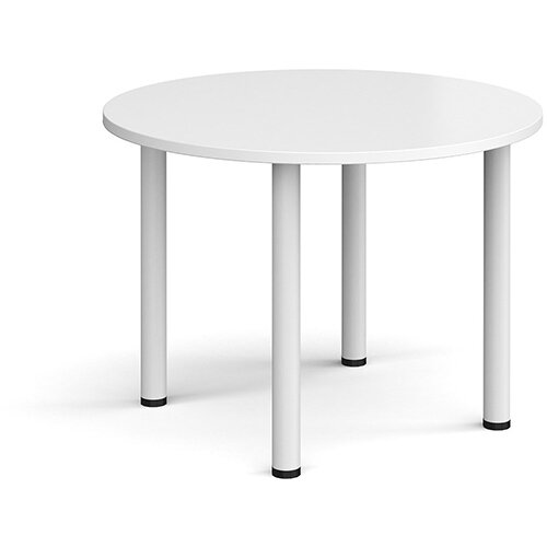 Circular white radial leg meeting table 1000mm - white