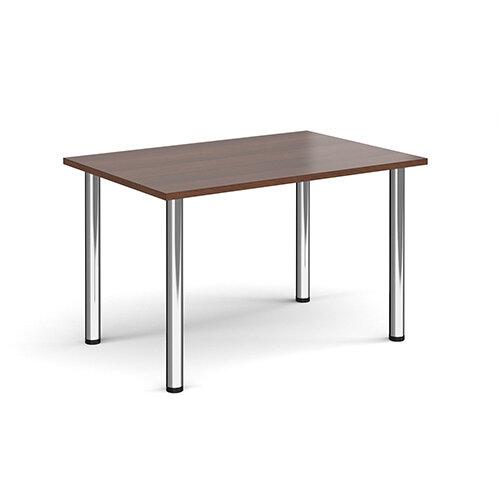 Rectangular chrome radial leg meeting table 1200mm x 800mm - walnut