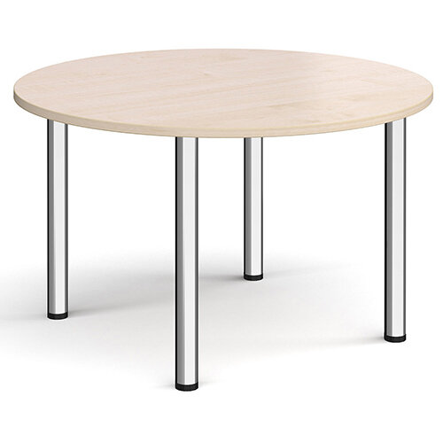 Circular chrome radial leg meeting table 1200mm - maple