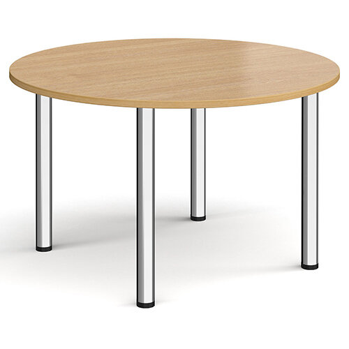 Circular chrome radial leg meeting table 1200mm - oak