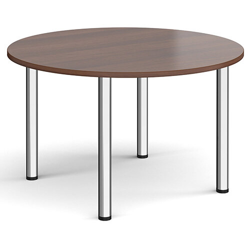 Circular chrome radial leg meeting table 1200mm - walnut