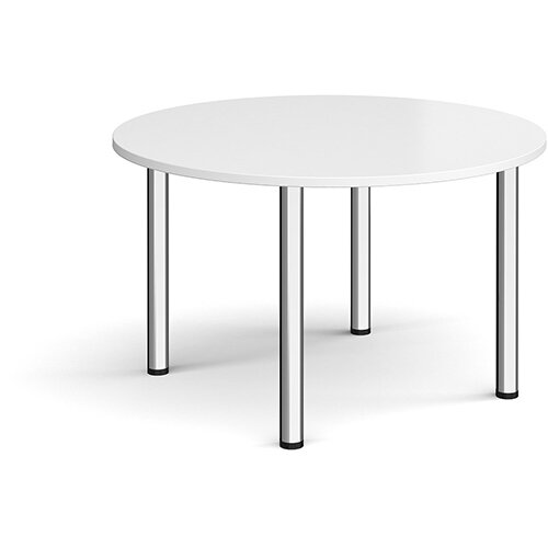 Circular chrome radial leg meeting table 1200mm - white