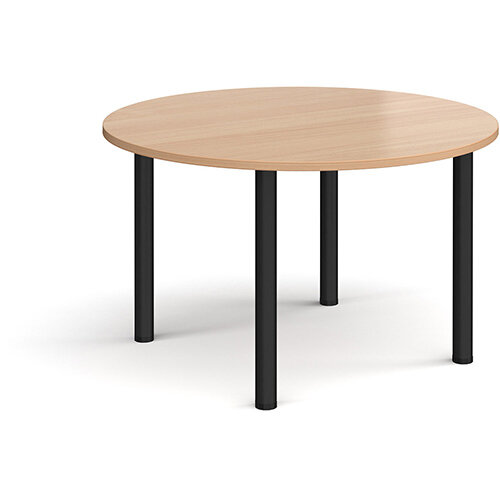 Circular black radial leg meeting table 1200mm - beech