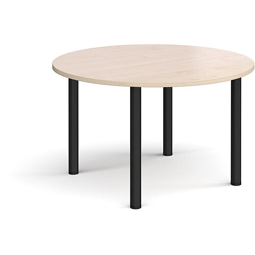 Circular black radial leg meeting table 1200mm - maple