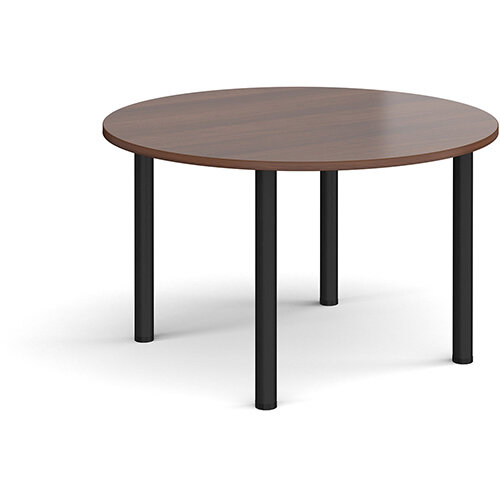 Circular black radial leg meeting table 1200mm - walnut