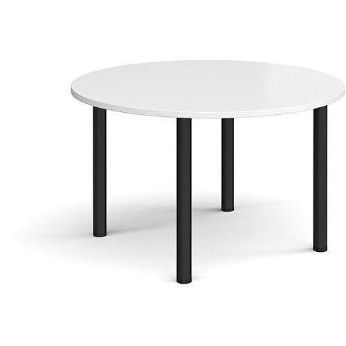 Circular black radial leg meeting table 1200mm - white
