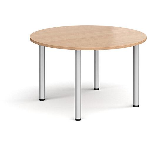 Circular silver radial leg meeting table 1200mm - beech