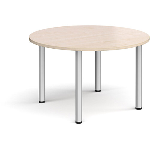 Circular silver radial leg meeting table 1200mm - maple