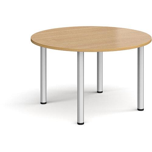 Circular silver radial leg meeting table 1200mm - oak