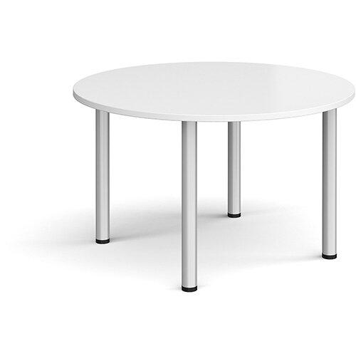 Circular silver radial leg meeting table 1200mm - white