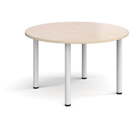Circular white radial leg meeting table 1200mm - maple