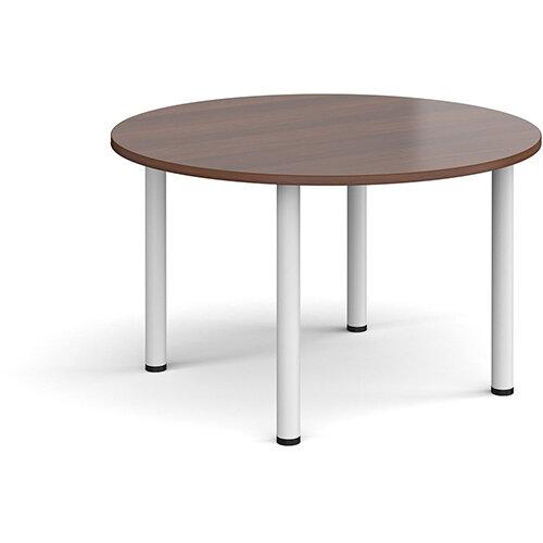 Circular white radial leg meeting table 1200mm - walnut