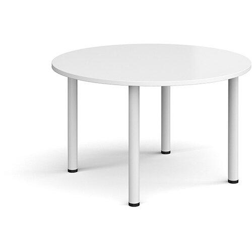 Circular white radial leg meeting table 1200mm - white