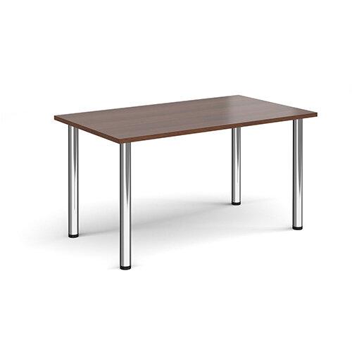 Rectangular chrome radial leg meeting table 1400mm x 800mm - walnut