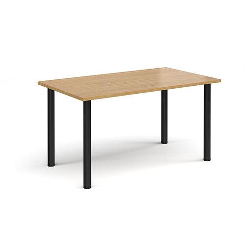 Rectangular black radial leg meeting table 1400mm x 800mm - oak