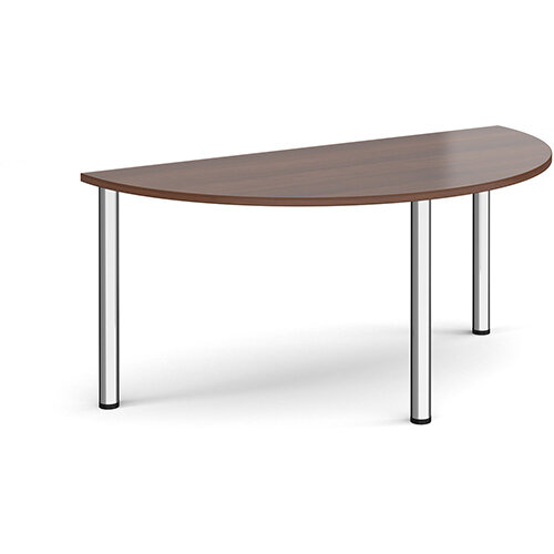 Semi circular chrome radial leg meeting table 1600mm x 800mm - walnut