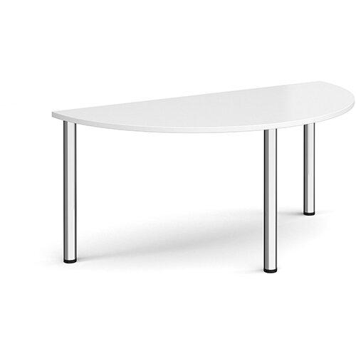 Semi circular chrome radial leg meeting table 1600mm x 800mm - white