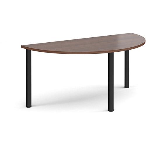 Semi circular black radial leg meeting table 1600mm x 800mm - walnut