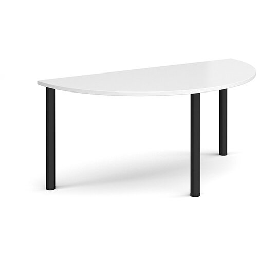 Semi circular black radial leg meeting table 1600mm x 800mm - white