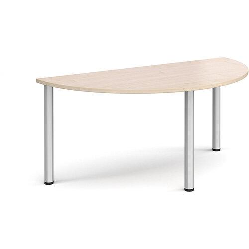 Semi circular silver radial leg meeting table 1600mm x 800mm - maple