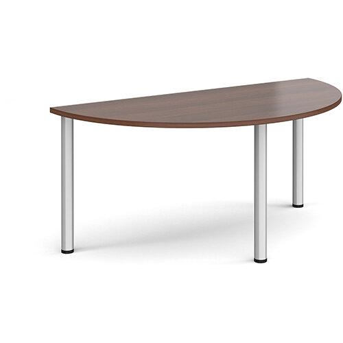 Semi circular silver radial leg meeting table 1600mm x 800mm - walnut