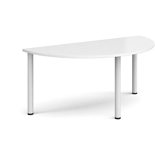 Semi circular white radial leg meeting table 1600mm x 800mm - white