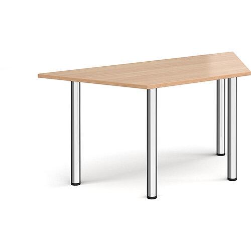 Trapezoidal chrome radial leg meeting table 1600mm x 800mm - beech