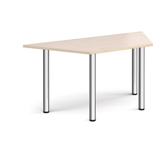 Trapezoidal chrome radial leg meeting table 1600mm x 800mm - maple