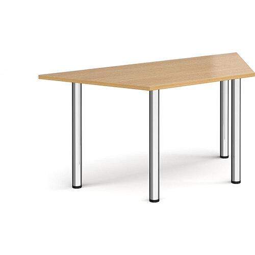 Trapezoidal chrome radial leg meeting table 1600mm x 800mm - oak