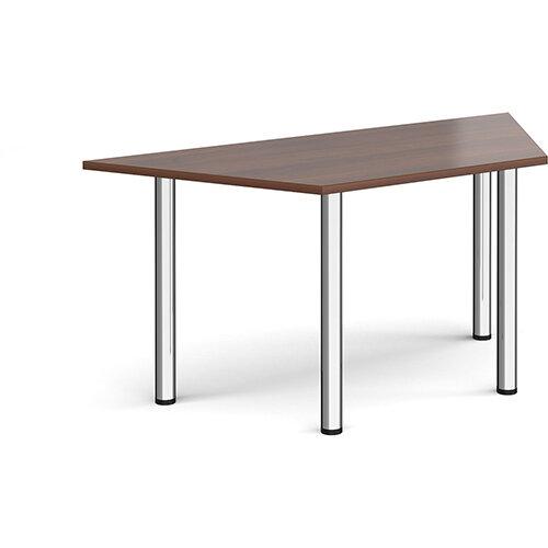 Trapezoidal chrome radial leg meeting table 1600mm x 800mm - walnut