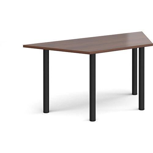 Trapezoidal black radial leg meeting table 1600mm x 800mm - walnut