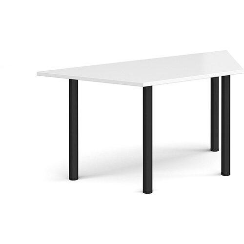 Trapezoidal black radial leg meeting table 1600mm x 800mm - white