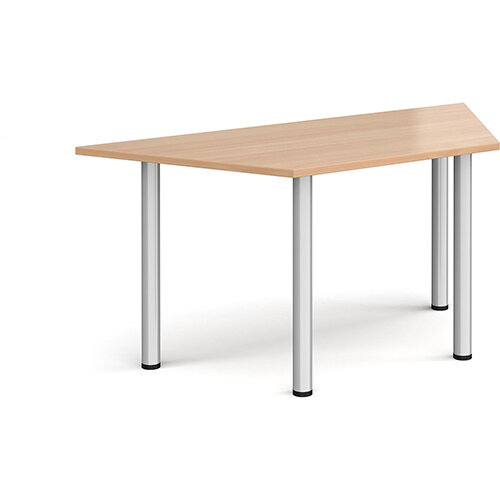Trapezoidal silver radial leg meeting table 1600mm x 800mm - beech
