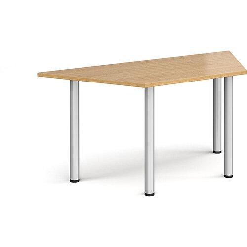 Trapezoidal silver radial leg meeting table 1600mm x 800mm - oak