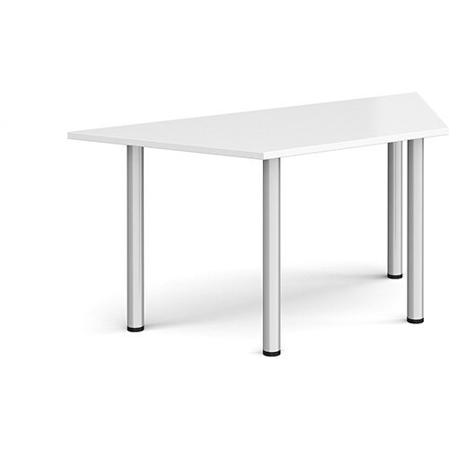 Trapezoidal silver radial leg meeting table 1600mm x 800mm - white