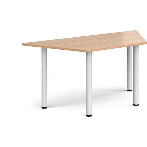 Trapezoidal white radial leg meeting table 1600mm x 800mm - beech