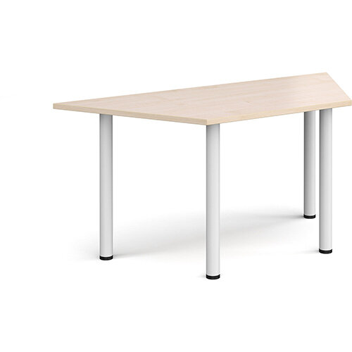 Trapezoidal white radial leg meeting table 1600mm x 800mm - maple