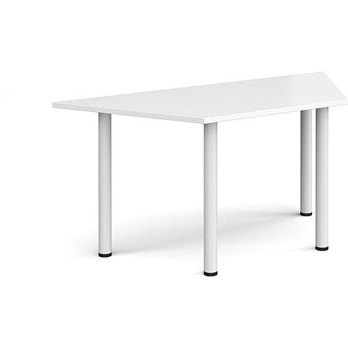 Trapezoidal white radial leg meeting table 1600mm x 800mm - white