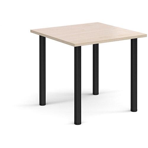 Rectangular black radial leg meeting table 800mm x 800mm - maple