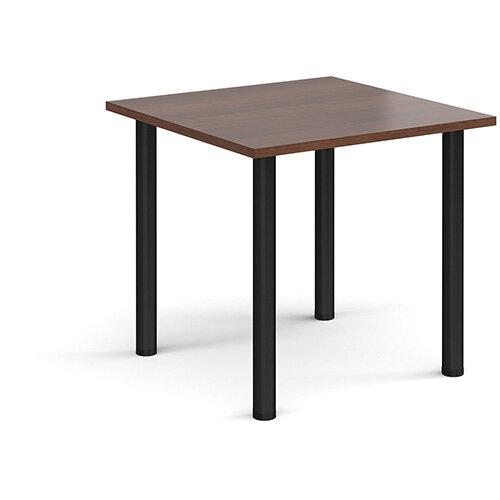 Rectangular black radial leg meeting table 800mm x 800mm - walnut